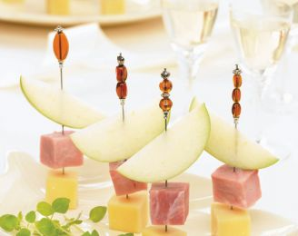 Swiss Emmental, Apple and Ham Brochettes